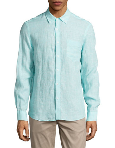 Black Brown 1826 Chambray Sport Shirt-GREEN-Small