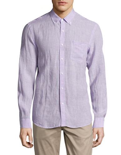 Black Brown 1826 Chambray Sport Shirt-PURPLE-XXX-Large