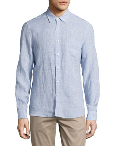 Black Brown 1826 Chambray Sport Shirt-BLUE-X-Large