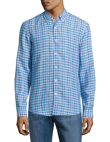 Black Brown 1826 Gingham Linen Sport shirt-BLUE-Large