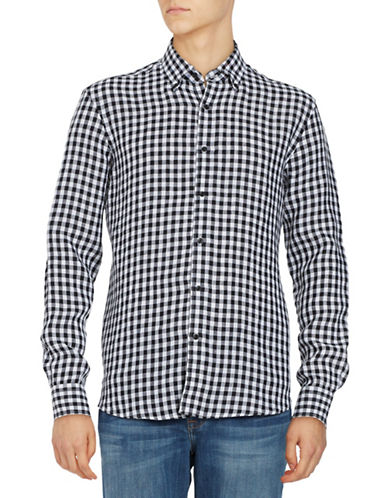 Black Brown 1826 Gingham Linen Sport shirt-BLACK-X-Large