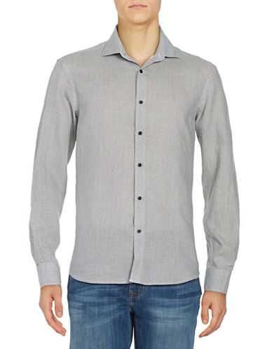 Black Brown 1826 Geometric Cotton Sport Shirt-BEIGE-Large