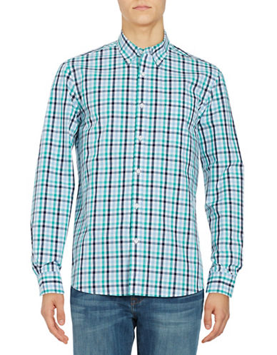 Black Brown 1826 Plaid Cotton Sport shirt-TEAL-Large
