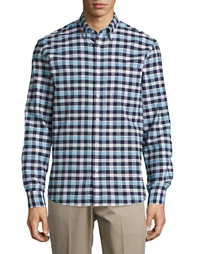 Black Brown 1826 Plaid Cotton Sport shirt-BLUE-XXX-Large