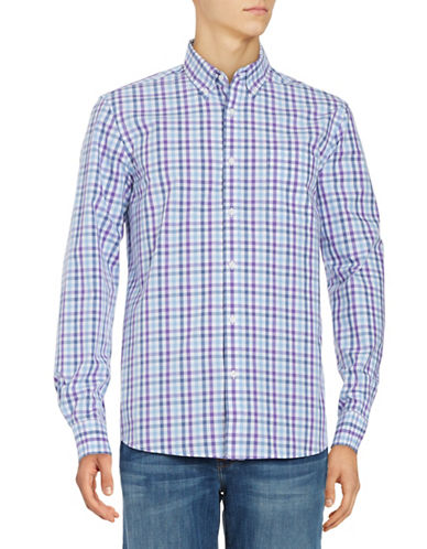 Black Brown 1826 Plaid Cotton Sport shirt-PURPLE-Large