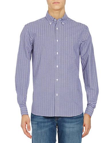 Black Brown 1826 Plaid Cotton Sport shirt-PURPLE-Small