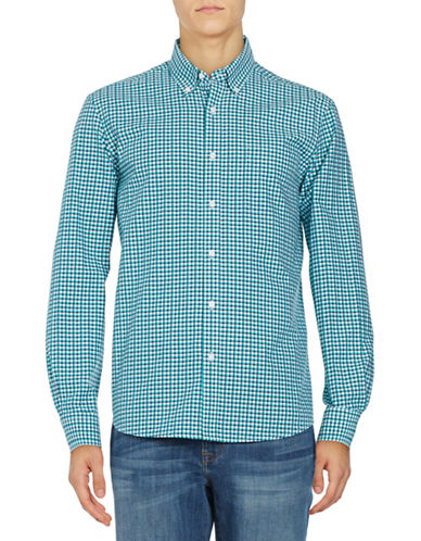 Black Brown 1826 Plaid Cotton Sport shirt-GREEN-X-Large
