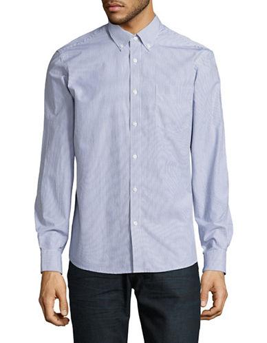 Black Brown 1826 Striped Cotton Sport Shirt-BLUE-XXX-Large