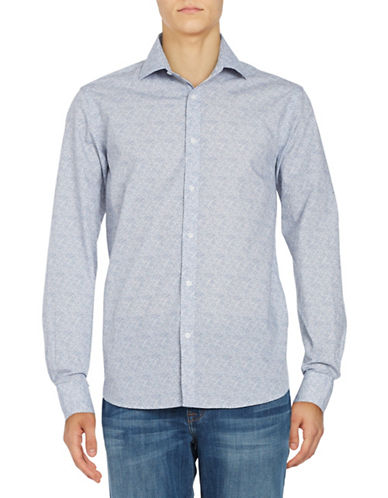 Black Brown 1826 Micro Dotted Sport shirt-BLUE-X-Large