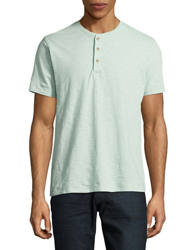 Black Brown 1826 Marled Cotton Henley-TEAL-Medium