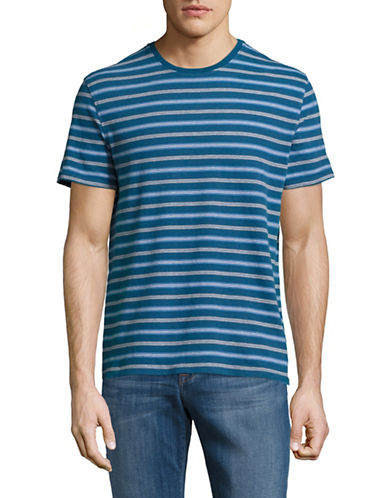 Black Brown 1826 Striped Cotton Tee-GREEN-X-Large