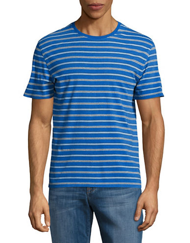 Black Brown 1826 Striped Cotton Tee-BLUE-XX-Large
