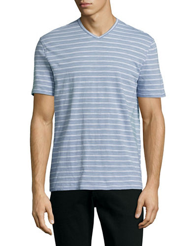 Black Brown 1826 Striped Slub Jersey V-Neck T-Shirt-SMOKE BLUE-Small