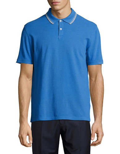 Black Brown 1826 Pique Polo-MEDIUM BLUE-Large