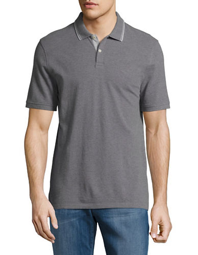Black Brown 1826 Pique Polo-GREY-XX-Large