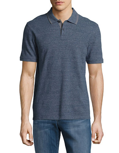 Black Brown 1826 Pique Polo-BLUE HEATHER-Medium