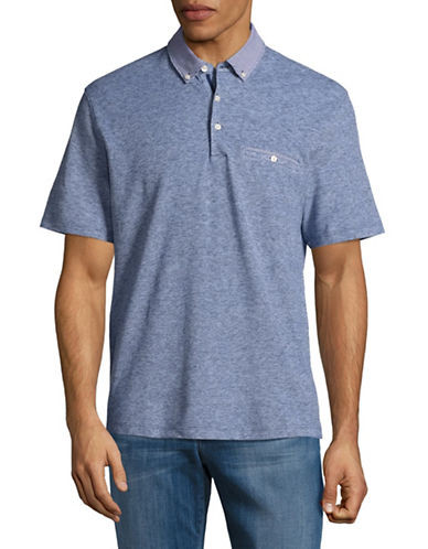 Black Brown 1826 Gingham-Trim Cotton-Linen Polo-BLUE-Small