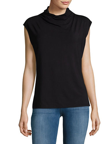 Lord & Taylor Knit Mock Neck Top-BLACK-X-Small