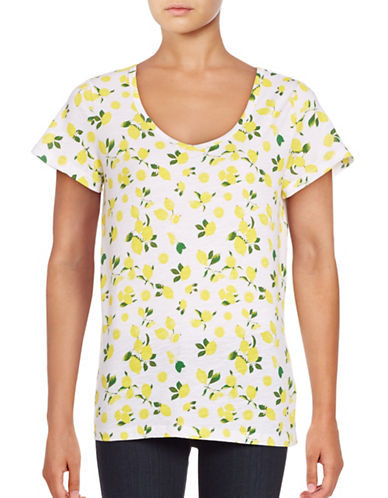 Lord & Taylor Petite Short Sleeve V-Neck Printed Slub Tee-WHITE-Petite X-Small