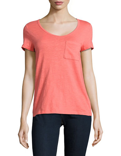 Lord & Taylor V-Neck One-Pocket Slub T-Shirt-RED-Large