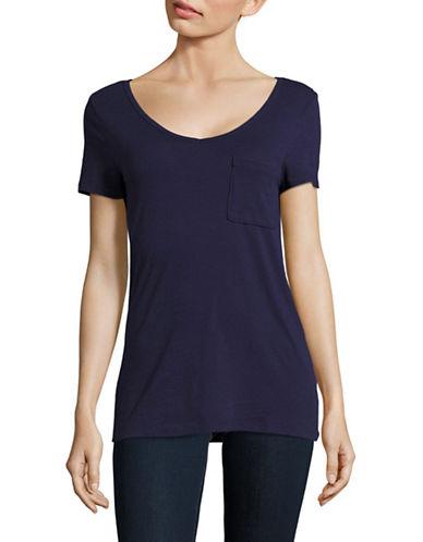 Lord & Taylor V-Neck One-Pocket Slub T-Shirt-BLUE-X-Small
