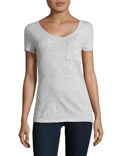 Lord & Taylor V-Neck One-Pocket Slub T-Shirt-GREY-Medium