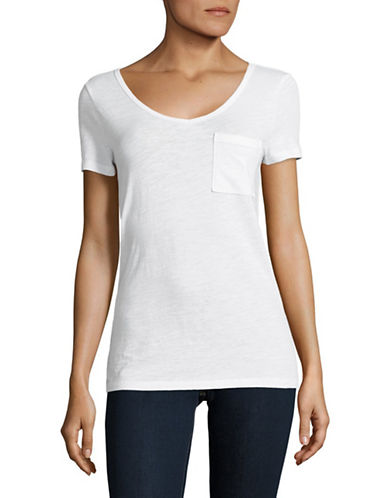 Lord & Taylor V-Neck One-Pocket Slub T-Shirt-WHITE-Small
