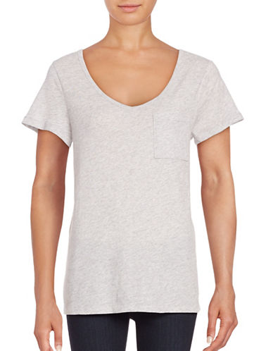 Lord & Taylor Petite V-Neck One-Pocket Slub T-Shirt-GREY-Petite Medium