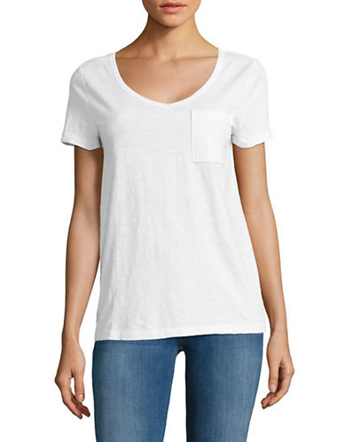 Lord & Taylor Petite V-Neck One-Pocket Slub T-Shirt-WHITE-Petite Large