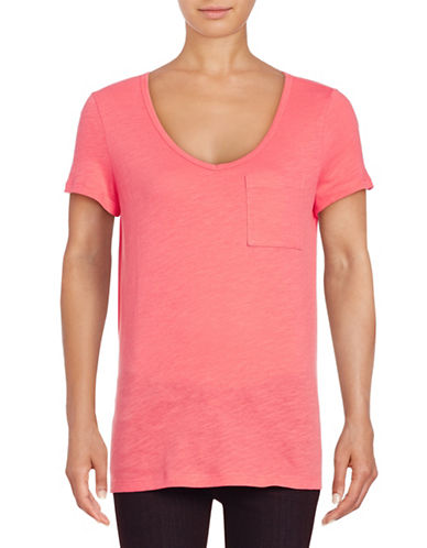 Lord & Taylor Petite V-Neck One-Pocket Slub T-Shirt-RED-Petite Small