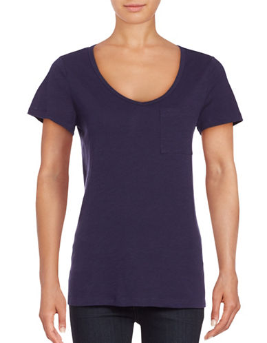 Lord & Taylor Petite V-Neck One-Pocket Slub T-Shirt-BLUE-Petite Medium