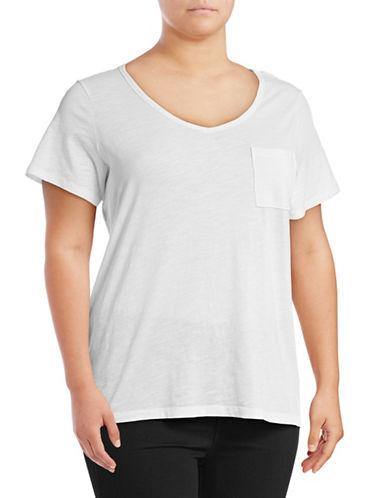 Lord & Taylor Plus V-Neck One-Pocket Slub T-Shirt-WHITE-1X