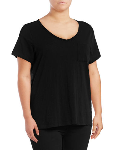 Lord & Taylor Petite V-Neck One-Pocket Slub T-Shirt-BLACK-Petite Medium