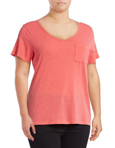 Lord & Taylor Plus V-Neck One-Pocket Slub T-Shirt-RED-2X