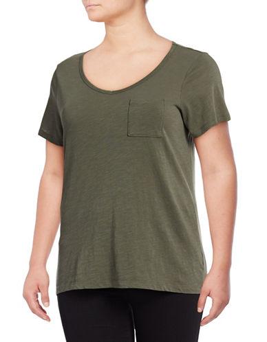 Lord & Taylor Plus V-Neck One-Pocket Slub T-Shirt-GREEN-2X