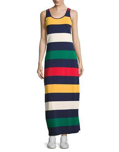 HudsonS Bay Company Multistripe Sleeveless Maxi Dress-NAVY-Large