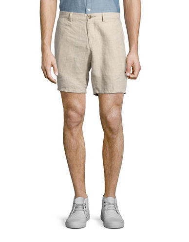 Black Brown 1826 Linen Shorts-BEIGE-32
