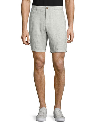 Black Brown 1826 Ticking Stripe Linen Shorts-NATURAL-40