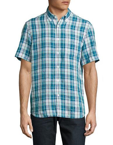 Black Brown 1826 Linen Sport Shirt-GREEN/BLUE-Small