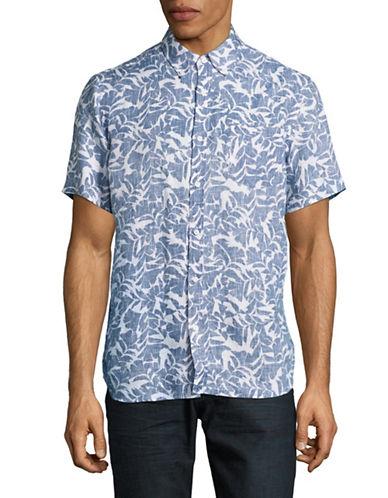 Black Brown 1826 Linen Sport Shirt-LIGHT BLUE-Small