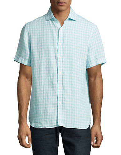 Black Brown 1826 Gingham Linen Short Sleeve Shirt-LIGHT TURQUOISE-Small