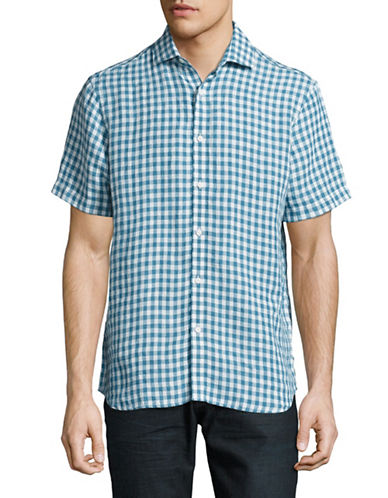 Black Brown 1826 Gingham Linen Short Sleeve Shirt-TEAL-XX-Large