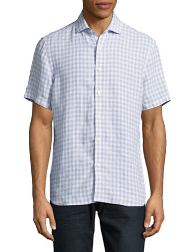 Black Brown 1826 Gingham Linen Short Sleeve Shirt-PURPLE-Large