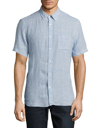 Black Brown 1826 End-On-End Short Sleeve Linen Shirt-BLUE-Small