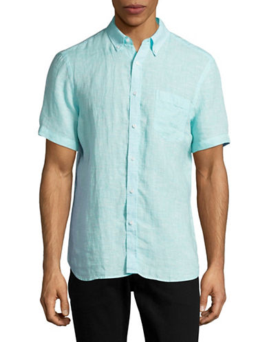 Black Brown 1826 End-On-End Short Sleeve Linen Shirt-GREEN-Small