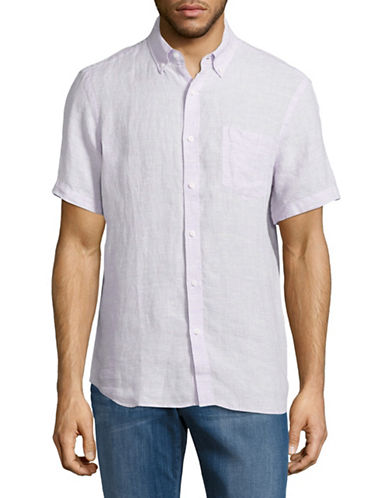Black Brown 1826 End-On-End Short Sleeve Linen Shirt-PURPLE-Small
