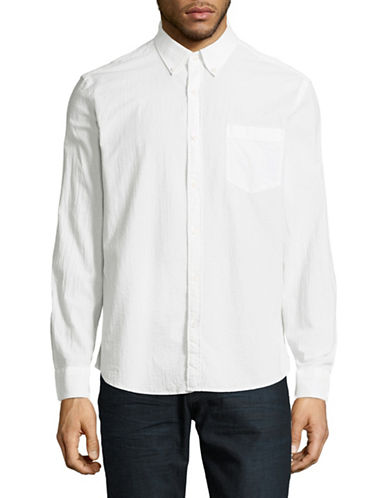 Black Brown 1826 Textured Cotton Sport Shirt-WHITE-Large