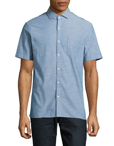 Black Brown 1826 Chambray Short Sleeve Sport Shirt-BLUE-Large