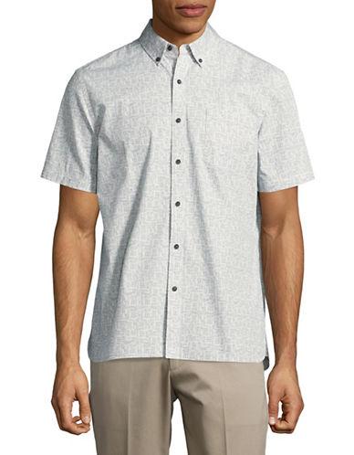 Black Brown 1826 Summer Print Sport Shirt-LIGHT BLUE-XXX-Large