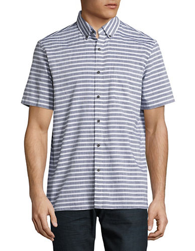 Black Brown 1826 Chambray Short Sleeve Sport Shirt-INDIGO-XXX-Large